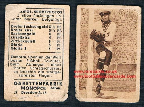 1931 Monopol German cigarette card of Ricardo Zamora